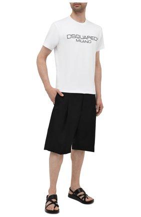 Мужская хлопковая футболка DSQUARED2 белого цвета, арт. S74GD0899/S22844 | Фото 2 (Рукава: Короткие; Длина (для топов): Стандартные; Стили: Гранж; Принт: С принтом; Материал внешний: Хлопок)