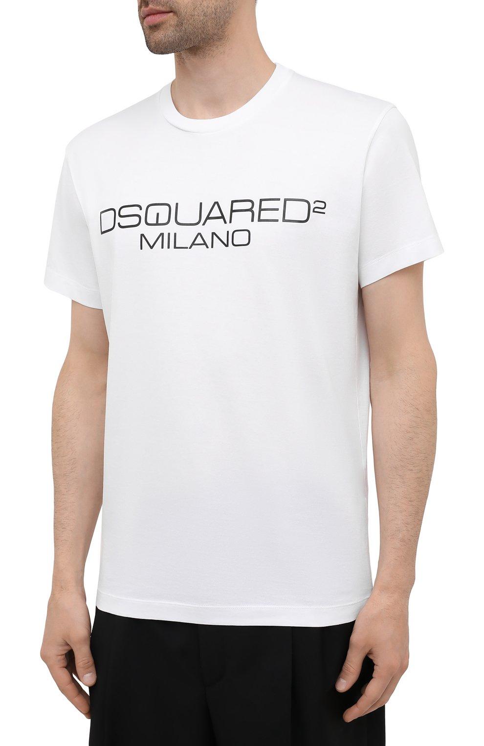 Мужская хлопковая футболка DSQUARED2 белого цвета, арт. S74GD0899/S22844 | Фото 3 (Рукава: Короткие; Длина (для топов): Стандартные; Стили: Гранж; Принт: С принтом; Материал внешний: Хлопок)
