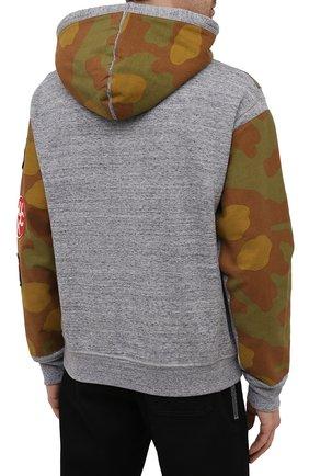 Мужской хлопковое худи DSQUARED2 серого цвета, арт. S74GU0543/S25477 | Фото 4 (Рукава: Длинные; Длина (для топов): Стандартные; Мужское Кросс-КТ: Худи-одежда; Стили: Милитари; Материал внешний: Хлопок)