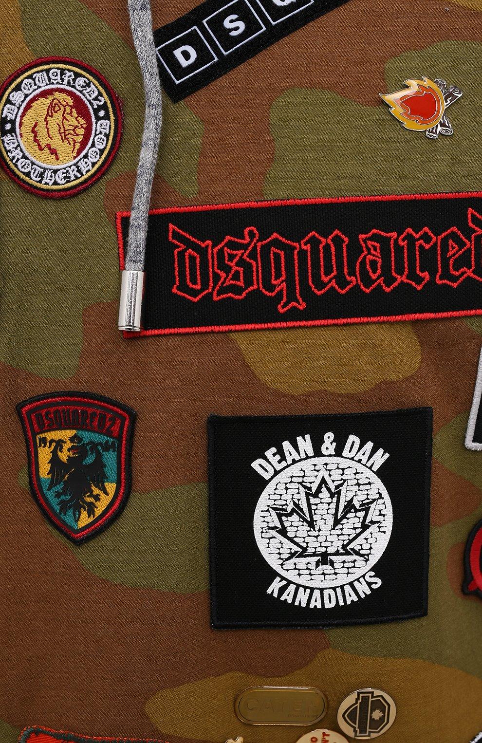 Мужской хлопковое худи DSQUARED2 серого цвета, арт. S74GU0543/S25477 | Фото 5 (Рукава: Длинные; Длина (для топов): Стандартные; Мужское Кросс-КТ: Худи-одежда; Стили: Милитари; Материал внешний: Хлопок)