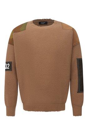 Мужской свитер из шерсти и кашемира DSQUARED2 светло-коричневого цвета, арт. S74HA1177/S17787 | Фото 1 (Рукава: Длинные; Длина (для топов): Стандартные; Материал внешний: Шерсть; Принт: Без принта; Стили: Гранж; Мужское Кросс-КТ: Свитер-одежда)