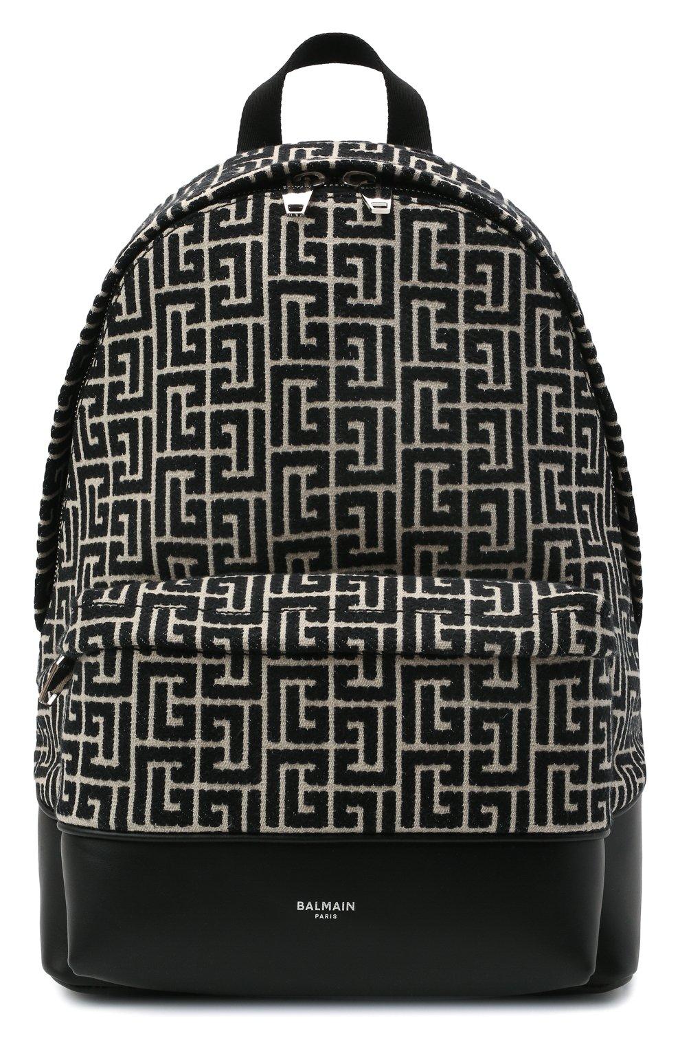 Мужской текстильный рюкзак BALMAIN черного цвета, арт. WM1GE150/TJMY | Фото 1