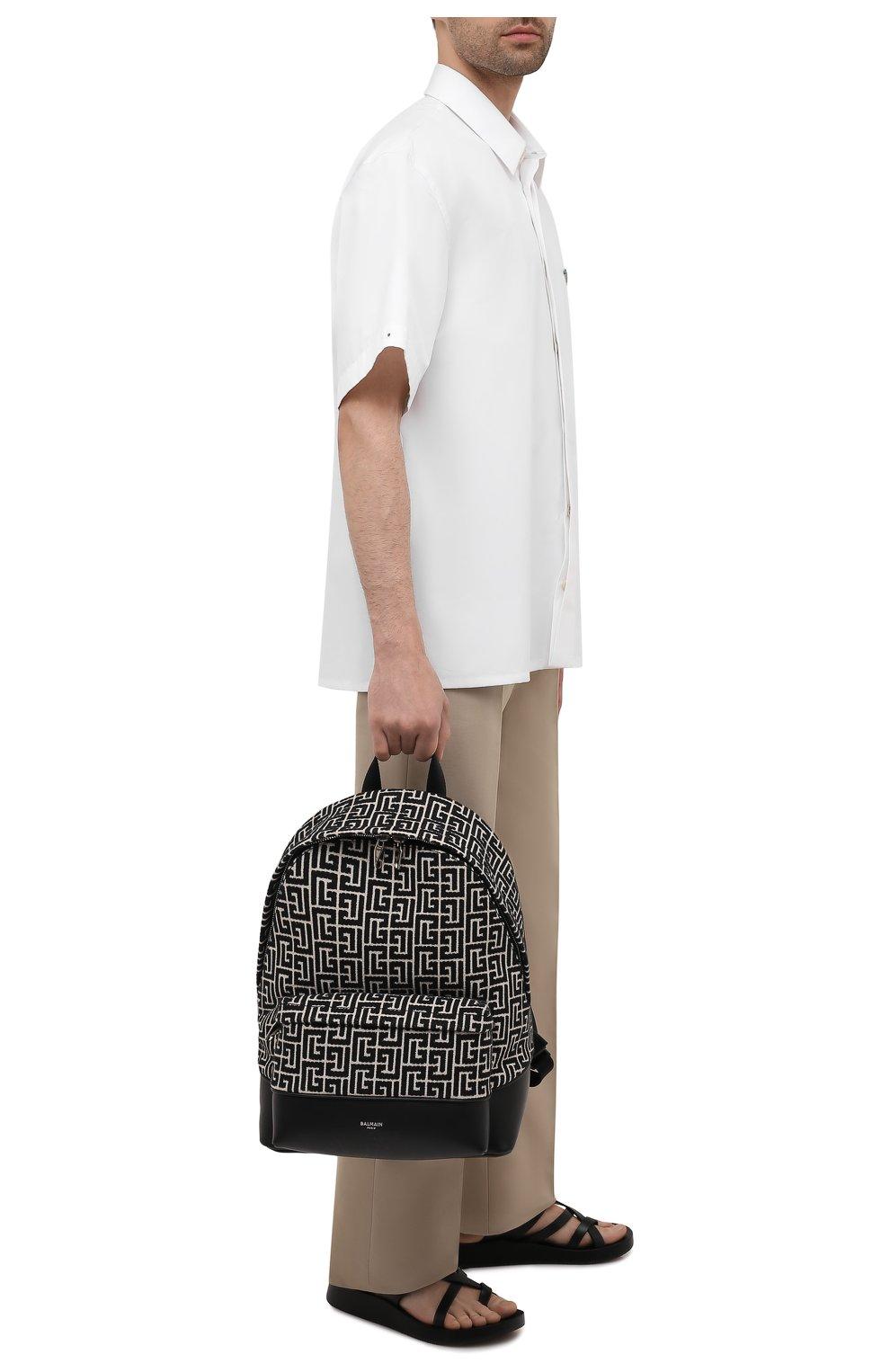 Мужской текстильный рюкзак BALMAIN черного цвета, арт. WM1GE150/TJMY | Фото 2