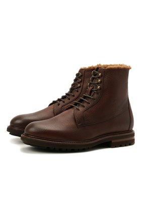 Мужские кожаные ботинки BRUNELLO CUCINELLI коричневого цвета, арт. MZUCRMM893   Фото 1 (Материал внутренний: Натуральная кожа; Подошва: Плоская; Мужское Кросс-КТ: Ботинки-обувь, зимние ботинки; Материал утеплителя: Натуральный мех)