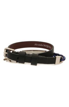 Мужской комбинированный браслет ALEXANDER MCQUEEN черного цвета, арт. 663688/1AAB0 | Фото 2
