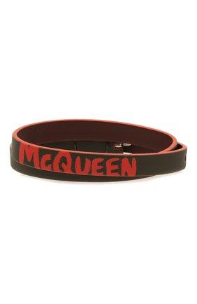 Мужской кожаный браслет ALEXANDER MCQUEEN хаки цвета, арт. 554466/1AACG | Фото 1