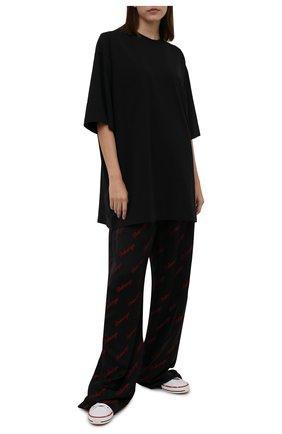 Женская хлопковая футболка BALENCIAGA черного цвета, арт. 651795/TKVA9 | Фото 2
