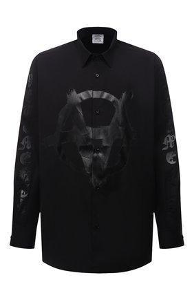 Мужская хлопковая рубашка VETEMENTS черного цвета, арт. UA52SH550B 1005/M | Фото 1 (Материал внешний: Хлопок; Рукава: Длинные; Длина (для топов): Стандартные; Стили: Панк; Случай: Повседневный; Воротник: Кент)