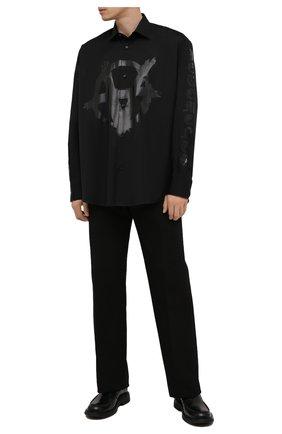 Мужская хлопковая рубашка VETEMENTS черного цвета, арт. UA52SH550B 1005/M | Фото 2 (Материал внешний: Хлопок; Рукава: Длинные; Длина (для топов): Стандартные; Стили: Панк; Случай: Повседневный; Воротник: Кент)