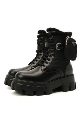 Женские кожаные ботинки monolith PRADA черного цвета, арт. 1T255M-3LEK-F0002 | Фото 1