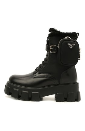 Женские кожаные ботинки monolith PRADA черного цвета, арт. 1T255M-3LEK-F0002 | Фото 2