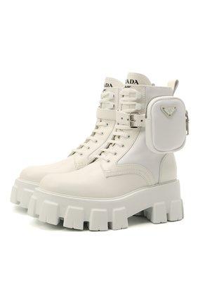 Женские кожаные ботинки monolith PRADA белого цвета, арт. 1T255M-3L09-F0009 | Фото 1