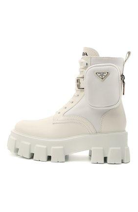 Женские кожаные ботинки monolith PRADA белого цвета, арт. 1T255M-3L09-F0009 | Фото 2
