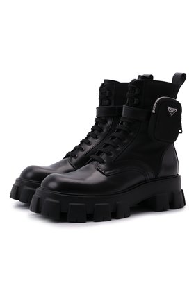 Мужские кожаные ботинки monolith PRADA черного цвета, арт. 2UE007-3LFR-F0002-D002 | Фото 1