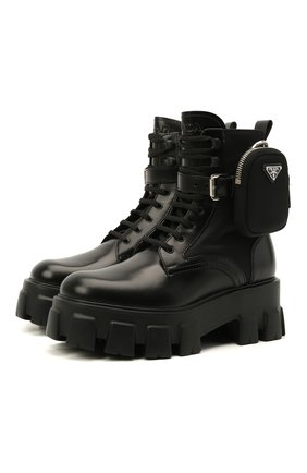 Женские кожаные ботинки monolith PRADA черного цвета, арт. 1T255M-3L09-F0002 | Фото 1
