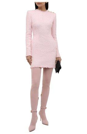 Женские замшевые ботфорты BALMAIN светло-розового цвета, арт. WN1TB568/LMTH   Фото 2 (Материал внутренний: Натуральная кожа; Подошва: Плоская; Материал внешний: Замша; Каблук высота: Высокий; Каблук тип: Шпилька; Высота голенища: Высокие)