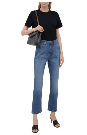 Женская хлопковая футболка GIORGIO ARMANI темно-синего цвета, арт. 6KAM57/AJVIZ   Фото 2