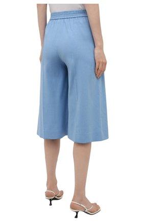 Женские льняные шорты-бермуды JOSEPH голубого цвета, арт. JP001147   Фото 4 (Женское Кросс-КТ: Шорты-одежда; Кросс-КТ: Широкие; Материал внешний: Хлопок, Лен; Длина Ж (юбки, платья, шорты): Миди; Стили: Кэжуэл)