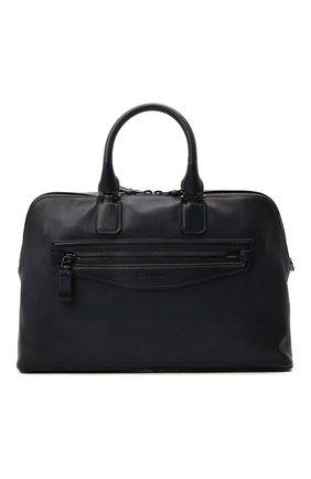 Мужская кожаная сумка для ноутбука SANTONI темно-синего цвета, арт. UIBBA2109LI-GGTQU50 | Фото 1