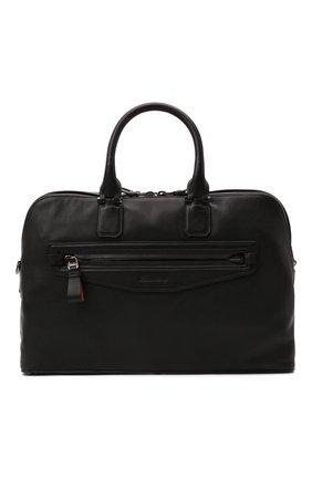 Мужская кожаная сумка для ноутбука SANTONI черного цвета, арт. UIBBA2109LI-GGTQN01 | Фото 1 (Ремень/цепочка: На ремешке; Материал: Натуральная кожа)