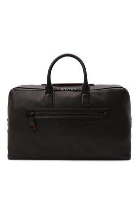 Мужская кожаная дорожная сумка SANTONI черного цвета, арт. UIBBA2108LI-GGTQN01 | Фото 1