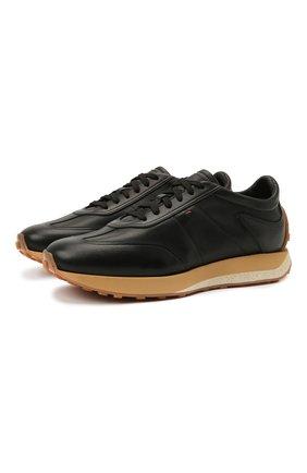 Мужские кожаные кроссовки SANTONI черного цвета, арт. MBNR21594CPGNRDAN01 | Фото 1