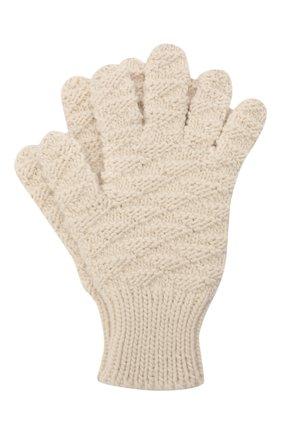 Женские шерстяные перчатки BOTTEGA VENETA кремвого цвета, арт. 670159/V10K0 | Фото 1 (Материал: Шерсть; Кросс-КТ: Трикотаж)