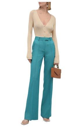 Женские шерстяные брюки GIUSEPPE DI MORABITO бирюзового цвета, арт. PF21051PA-136 | Фото 2