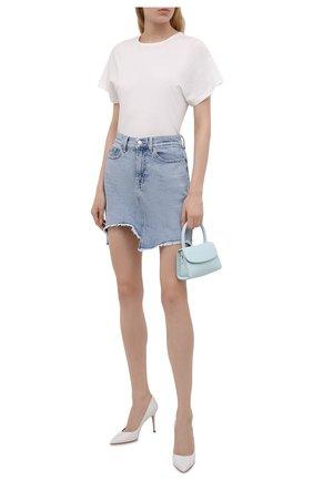 Женская джинсовая юбка 7 FOR ALL MANKIND голубого цвета, арт. JSSKB750L0   Фото 2