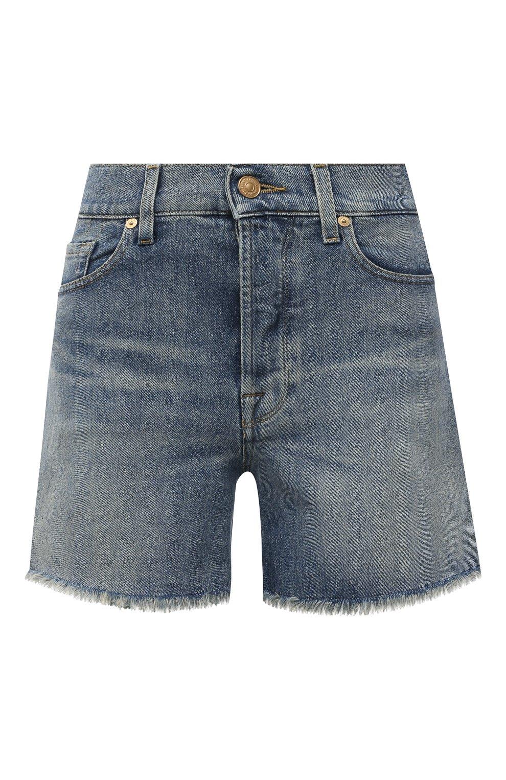 Женские джинсовые шорты 7 FOR ALL MANKIND голубого цвета, арт. JSSHB750MW | Фото 1 (Женское Кросс-КТ: Шорты-одежда; Кросс-КТ: Деним; Длина Ж (юбки, платья, шорты): Мини; Стили: Гранж; Материал внешний: Хлопок)