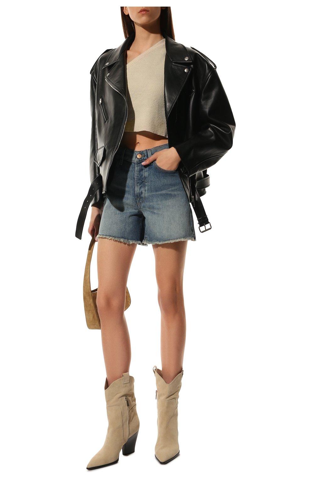 Женские джинсовые шорты 7 FOR ALL MANKIND голубого цвета, арт. JSSHB750MW | Фото 2 (Женское Кросс-КТ: Шорты-одежда; Кросс-КТ: Деним; Длина Ж (юбки, платья, шорты): Мини; Стили: Гранж; Материал внешний: Хлопок)