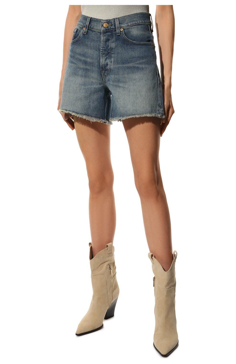 Женские джинсовые шорты 7 FOR ALL MANKIND голубого цвета, арт. JSSHB750MW | Фото 3 (Женское Кросс-КТ: Шорты-одежда; Кросс-КТ: Деним; Длина Ж (юбки, платья, шорты): Мини; Стили: Гранж; Материал внешний: Хлопок)