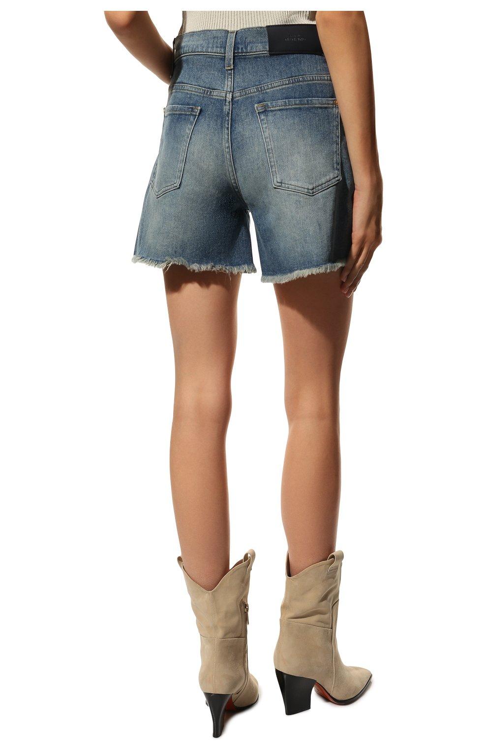 Женские джинсовые шорты 7 FOR ALL MANKIND голубого цвета, арт. JSSHB750MW | Фото 4 (Женское Кросс-КТ: Шорты-одежда; Кросс-КТ: Деним; Длина Ж (юбки, платья, шорты): Мини; Стили: Гранж; Материал внешний: Хлопок)