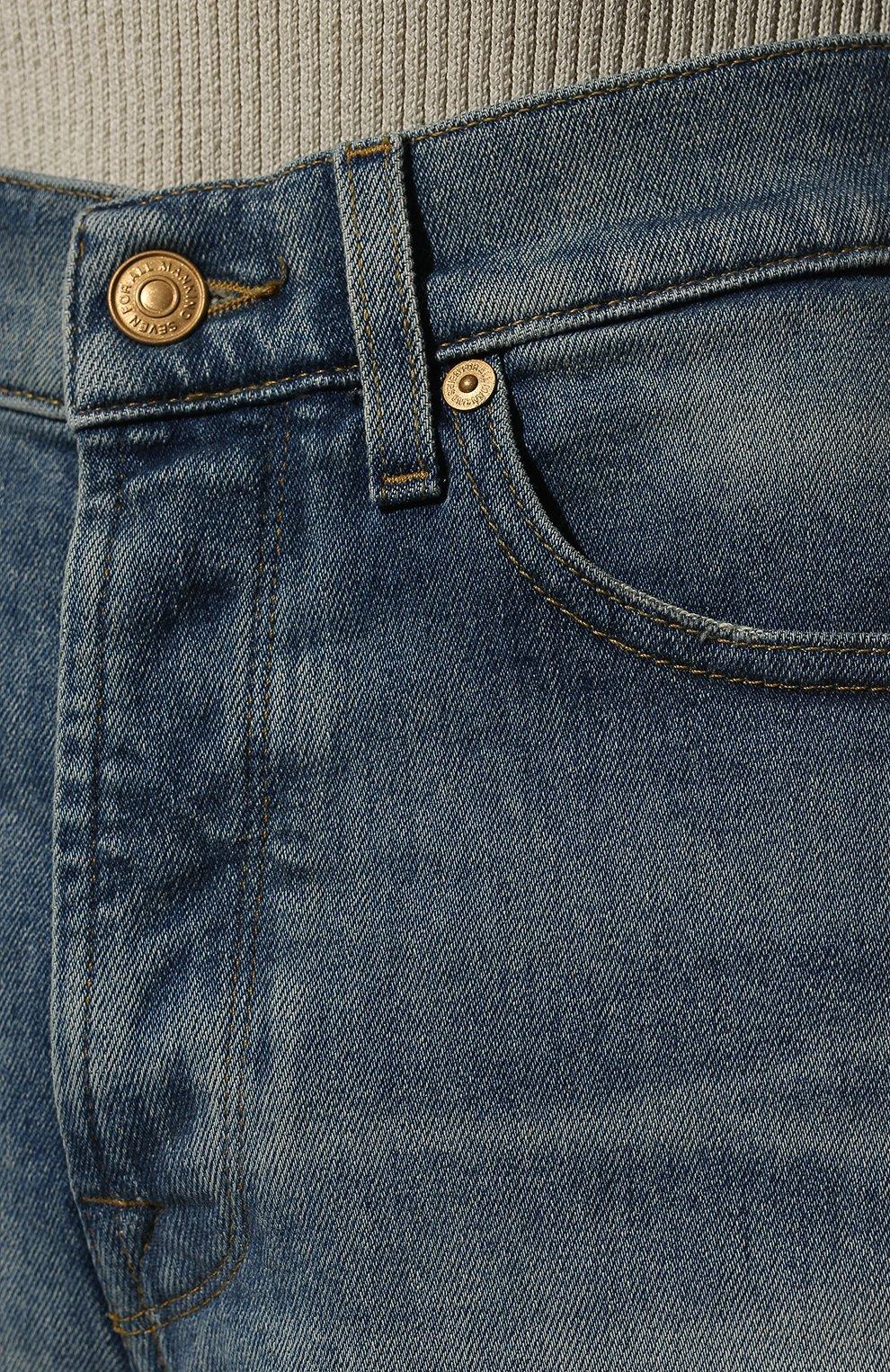Женские джинсовые шорты 7 FOR ALL MANKIND голубого цвета, арт. JSSHB750MW | Фото 5 (Женское Кросс-КТ: Шорты-одежда; Кросс-КТ: Деним; Длина Ж (юбки, платья, шорты): Мини; Стили: Гранж; Материал внешний: Хлопок)