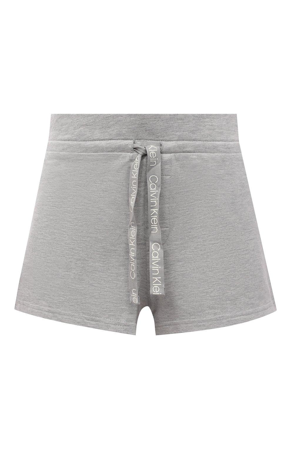 Женские шорты CALVIN KLEIN серого цвета, арт. QS6704E   Фото 1 (Длина Ж (юбки, платья, шорты): Мини; Материал внешний: Синтетический материал, Хлопок)