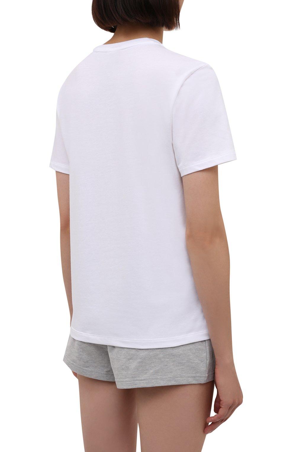 Женская футболка CALVIN KLEIN белого цвета, арт. QS6689E   Фото 4 (Рукава: Короткие; Материал внешний: Синтетический материал, Хлопок; Длина (для топов): Стандартные; Женское Кросс-КТ: Футболка-белье)