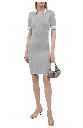 Женское платье из вискозы MICHAEL MICHAEL KORS светло-серого цвета, арт. MU1807R8S8 | Фото 2