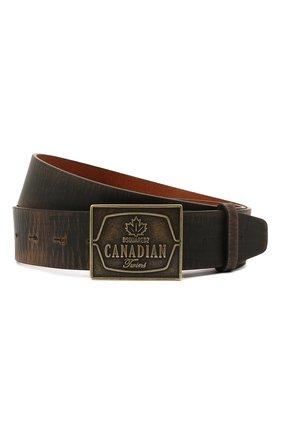 Мужской кожаный ремень DSQUARED2 темно-коричневого цвета, арт. BEM0354 12900001 | Фото 1