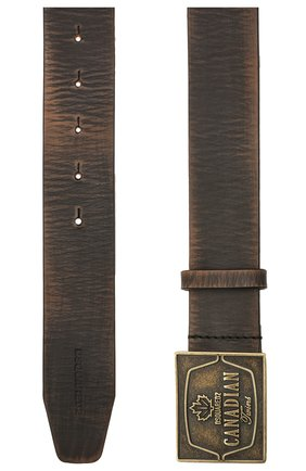 Мужской кожаный ремень DSQUARED2 темно-коричневого цвета, арт. BEM0354 12900001 | Фото 2