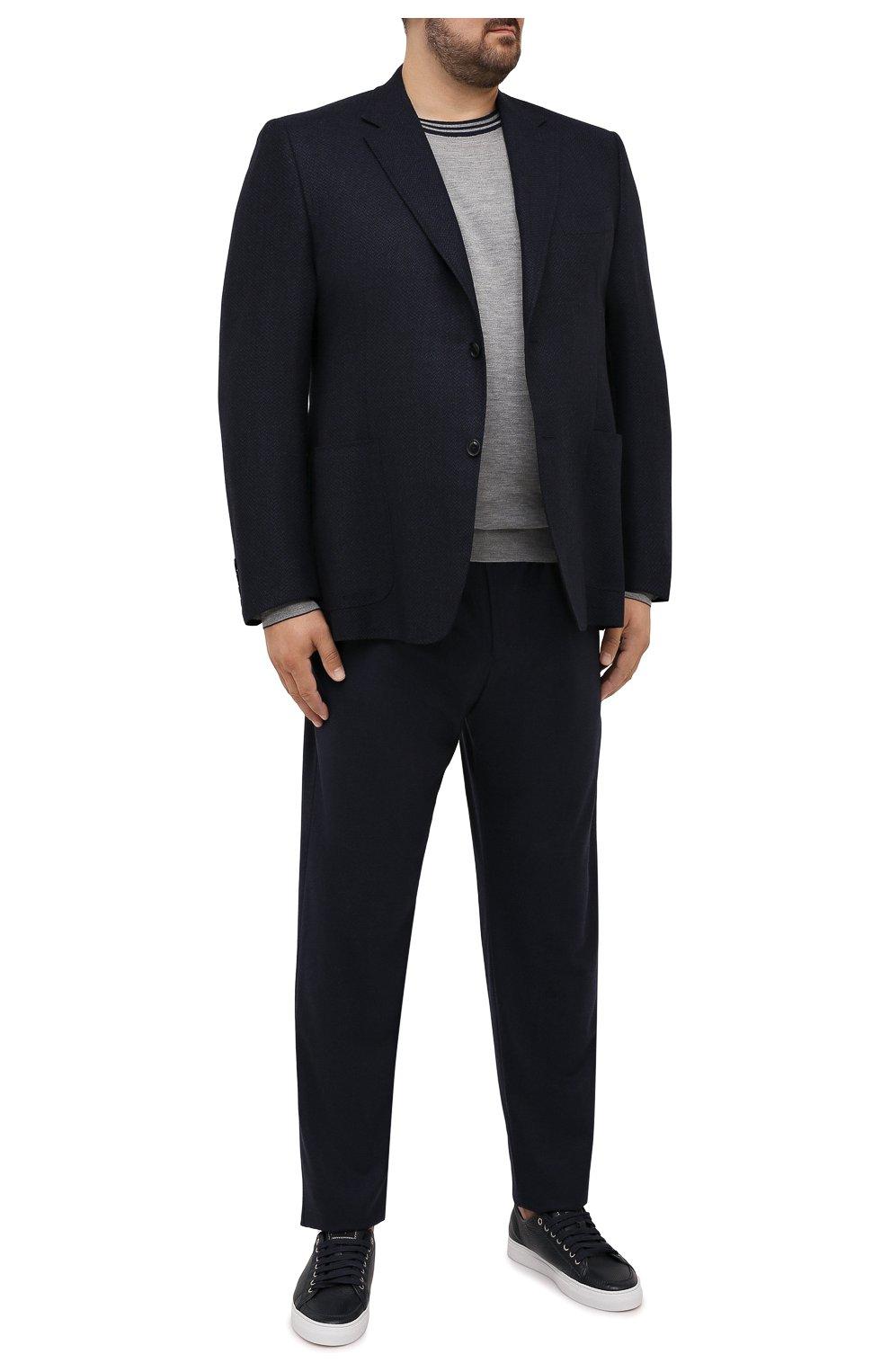 Мужские кашемировые брюки MARCO PESCAROLO темно-синего цвета, арт. CHIAIAM/ZIP+SFILA/4442   Фото 2 (Big sizes: Big Sizes; Материал внешний: Шерсть, Кашемир; Длина (брюки, джинсы): Стандартные; Случай: Повседневный; Стили: Кэжуэл)