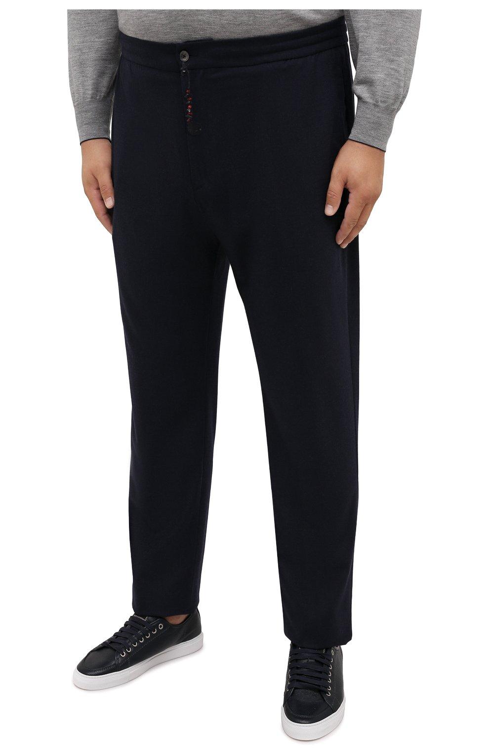 Мужские кашемировые брюки MARCO PESCAROLO темно-синего цвета, арт. CHIAIAM/ZIP+SFILA/4442   Фото 3 (Big sizes: Big Sizes; Материал внешний: Шерсть, Кашемир; Длина (брюки, джинсы): Стандартные; Случай: Повседневный; Стили: Кэжуэл)