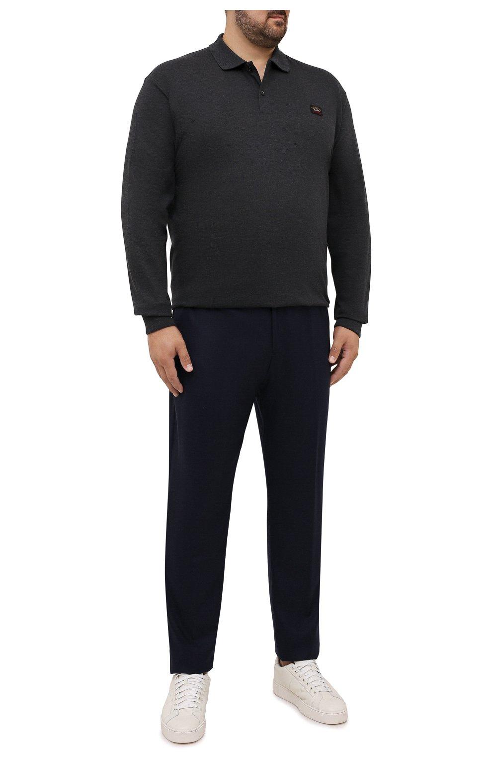 Мужские брюки из шерсти и кашемира MARCO PESCAROLO темно-синего цвета, арт. CHIAIAM/ZIP+SFILA/4438 | Фото 2 (Big sizes: Big Sizes; Материал внешний: Шерсть, Кашемир; Длина (брюки, джинсы): Стандартные; Случай: Повседневный; Стили: Кэжуэл)
