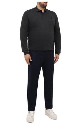 Мужские брюки из шерсти и кашемира MARCO PESCAROLO темно-синего цвета, арт. CHIAIAM/ZIP+SFILA/4438 | Фото 2 (Материал внешний: Шерсть, Кашемир; Случай: Повседневный; Стили: Кэжуэл; Длина (брюки, джинсы): Стандартные; Big sizes: Big Sizes)