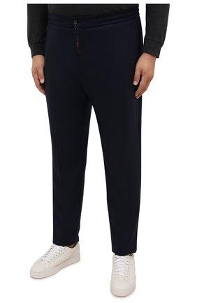 Мужские брюки из шерсти и кашемира MARCO PESCAROLO темно-синего цвета, арт. CHIAIAM/ZIP+SFILA/4438 | Фото 3 (Big sizes: Big Sizes; Материал внешний: Шерсть, Кашемир; Длина (брюки, джинсы): Стандартные; Случай: Повседневный; Стили: Кэжуэл)