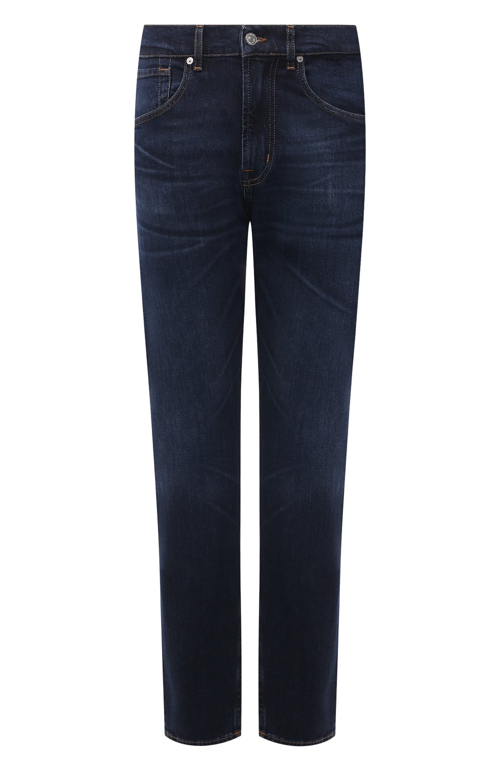 Мужские джинсы 7 FOR ALL MANKIND темно-синего цвета, арт. JS00L390DE   Фото 1 (Силуэт М (брюки): Прямые; Кросс-КТ: Деним; Длина (брюки, джинсы): Стандартные; Материал внешний: Хлопок; Детали: Потертости; Стили: Кэжуэл)