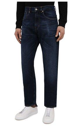 Мужские джинсы 7 FOR ALL MANKIND темно-синего цвета, арт. JS00L390DE   Фото 3 (Силуэт М (брюки): Прямые; Кросс-КТ: Деним; Длина (брюки, джинсы): Стандартные; Материал внешний: Хлопок; Детали: Потертости; Стили: Кэжуэл)