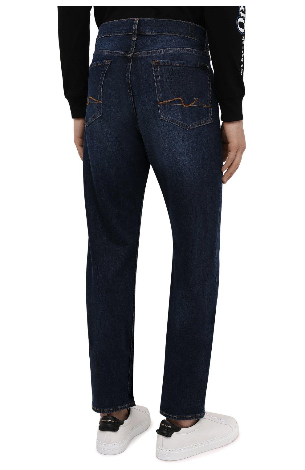 Мужские джинсы 7 FOR ALL MANKIND темно-синего цвета, арт. JS00L390DE   Фото 4 (Силуэт М (брюки): Прямые; Кросс-КТ: Деним; Длина (брюки, джинсы): Стандартные; Материал внешний: Хлопок; Детали: Потертости; Стили: Кэжуэл)