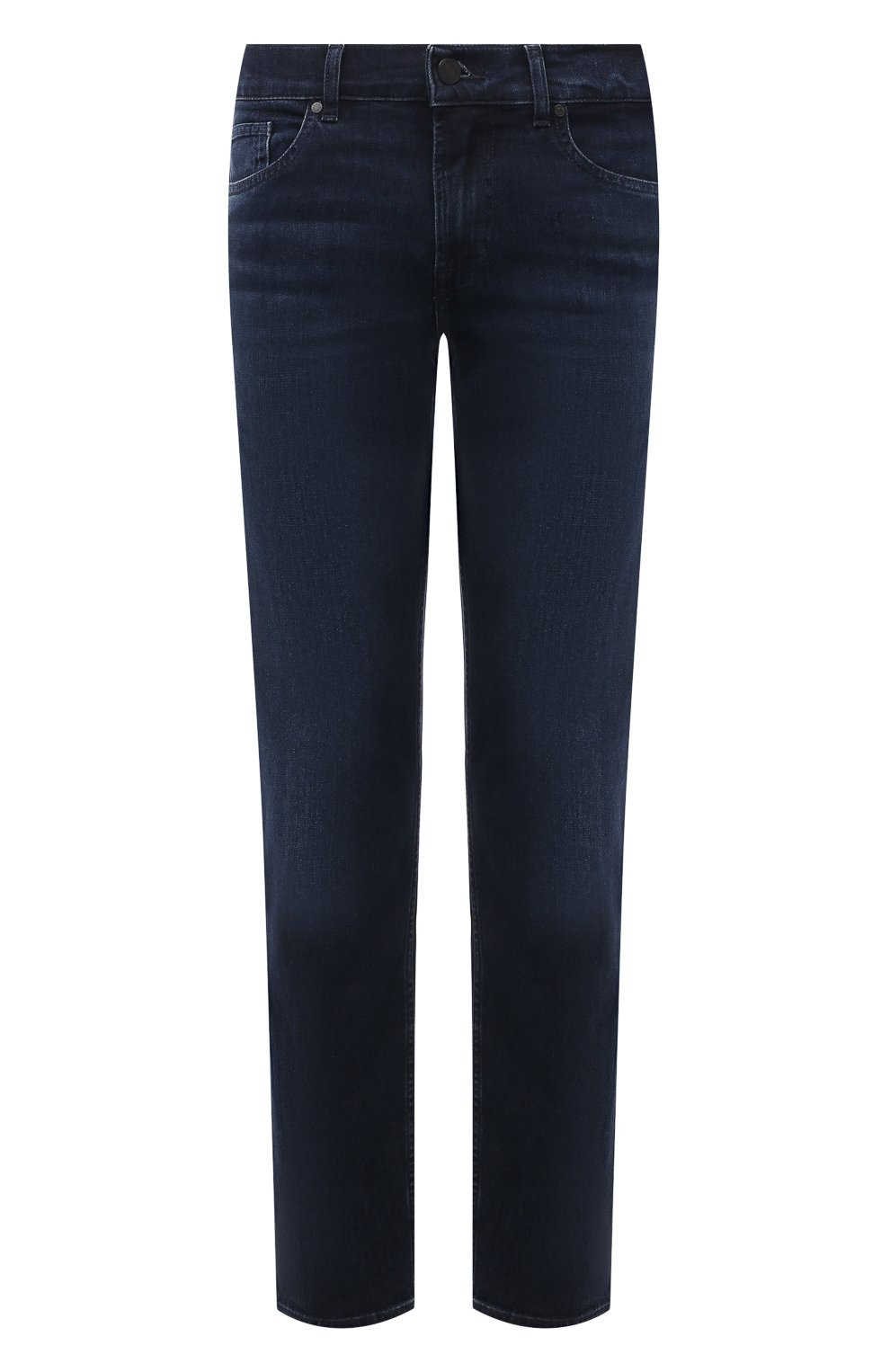 Мужские джинсы 7 FOR ALL MANKIND темно-синего цвета, арт. JSMNR460LL   Фото 1 (Силуэт М (брюки): Прямые; Длина (брюки, джинсы): Стандартные; Материал внешний: Хлопок; Стили: Кэжуэл)
