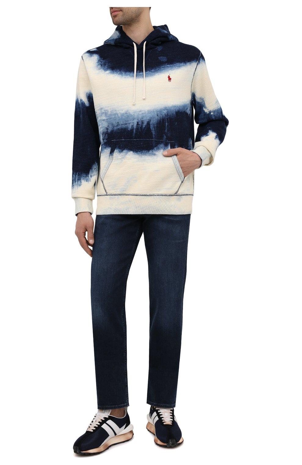 Мужские джинсы 7 FOR ALL MANKIND темно-синего цвета, арт. JSMNR460LL   Фото 2 (Силуэт М (брюки): Прямые; Длина (брюки, джинсы): Стандартные; Материал внешний: Хлопок; Стили: Кэжуэл)