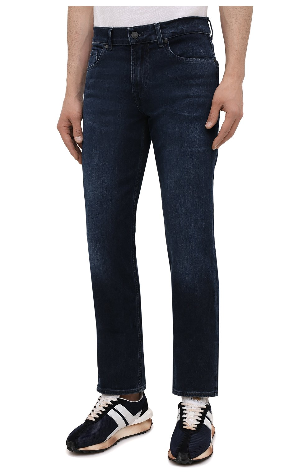 Мужские джинсы 7 FOR ALL MANKIND темно-синего цвета, арт. JSMNR460LL   Фото 3 (Силуэт М (брюки): Прямые; Длина (брюки, джинсы): Стандартные; Материал внешний: Хлопок; Стили: Кэжуэл)